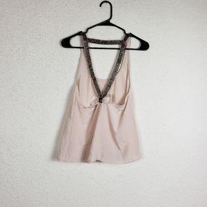 Topshop blush pink beaded tank size 4